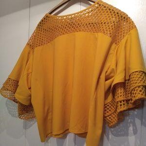 Impulsive Dark Yellow Mesh Tiered Sleeve Top